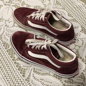 Vans burgundy suede feel shoes